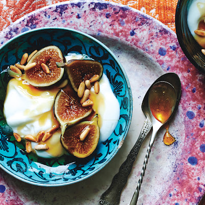Yogurt with Fresh Figs, Honey, and Pine Nuts