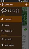 Screenshot of Výskyt húb