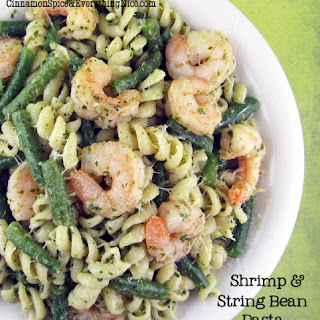 Shrimp and String Bean Pesto Pasta