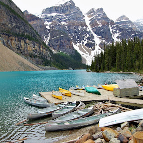 Moraine Lake Dock by Jim Czech - Landscapes Mountains & Hills ( mountains, mountain lake, pier, banff, moraine lake, dock, canoes )