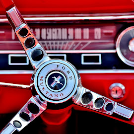 Mustang by Erin Czech - Transportation Automobiles ( mustang, red, wheel, steering, ford )