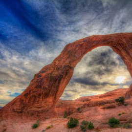 Sunset at Corona Arch by Derrick Snider - Landscapes Caves & Formations ( moab, utah, sunset, arches, landscape )