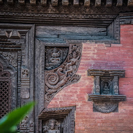 Temple, Bhaktipur, Nepal. Architectural detail. by Eva Kamienska-Carter - Buildings & Architecture Architectural Detail ( temple, detail, bhaktipur, architecture, nepal )