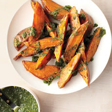 Parsley, Lemon, and Walnut Pesto on Roasted Sweet Potatoes