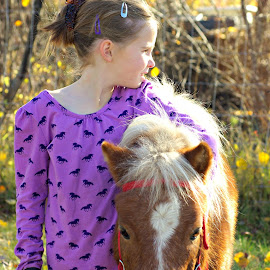 Tired out by Giselle Pierce - Babies & Children Children Candids ( miniature horse, girl, mane, briddle, horse, tail, friend, kid )