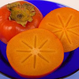 Persimon by Vibeke Friis - Food & Drink Plated Food ( orange, plates, blue, persimon, yellow, orange. color )