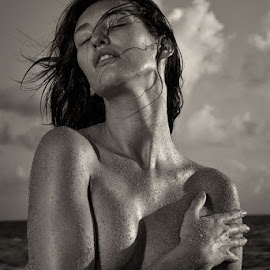 Joy by Natalia Artemieva - People Portraits of Women ( beautiful woman sand beach sunrise miami ocean wind,  )
