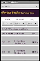 Screenshot of GlenDale Beeline Bus Times