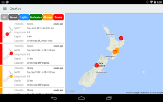 Screenshot of GeoNet Quake