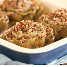 Baked Artichokes Stuffed with Red Quinoa