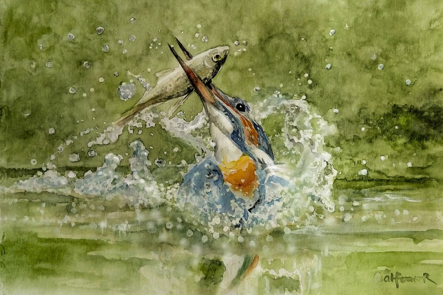 The First Catch by Alfonso Rahardja - Painting All Painting