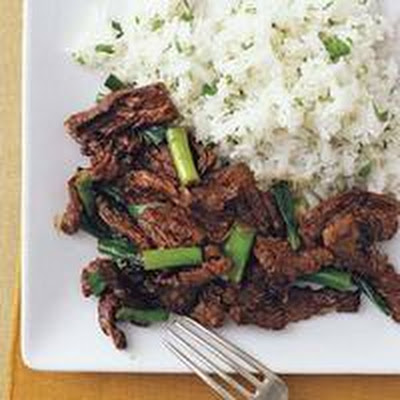 Orange Beef with Cilantro Rice
