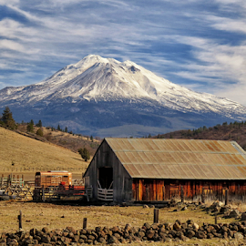 Barn with a View by Lori Quillen - Buildings & Architecture Other Exteriors ( winter, mountain, barn, california, barns )
