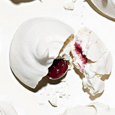 Vanilla Meringues with Sour Cherry Centers