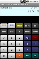Screenshot of Feet Inch Material Calculator