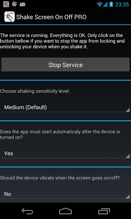 Shake Screen On Off PRO Screenshot 0