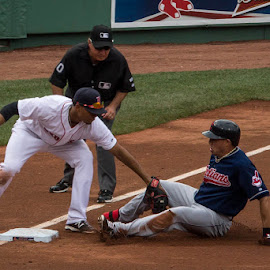 Out at Third by Amy Vaughn - Sports & Fitness Baseball ( ballpark, red sox, baseball, sports, sports action )