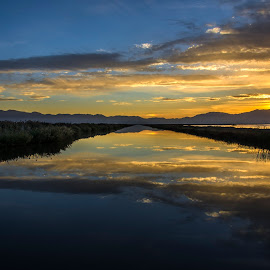 sunrise, river, refuge,morning, cloudy, Bear River, by Butch Stein - Landscapes Waterscapes