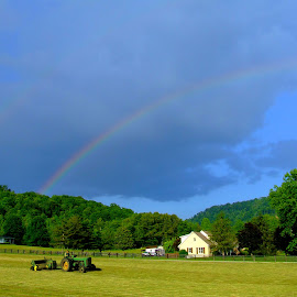Rainbow Farm by Paul Mays - Landscapes Prairies, Meadows & Fields ( farm, field, tractor, rainbow, kentucky )