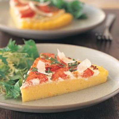 Polenta Pizza with Tomatoes and Ricotta