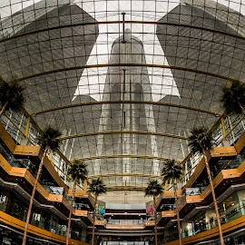 Ren Cen - Detroit, MI by Mike Boening - Buildings & Architecture Office Buildings & Hotels ( memories by mike, olympus omd em10, street shooting, mike boening, rencen, riverwalk, cloudy, day, detroit, people, discover your world, street photography )