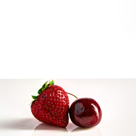 Strawberry & Cherry by Michael Holser - Food & Drink Fruits & Vegetables ( cherry, reflection, strawberry )