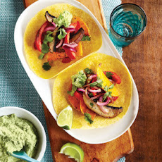 Roasted Vegetable Tacos with Edamame Guacamole
