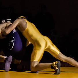 by Greg DesBrisay - Sports & Fitness Other Sports ( purple, wrestling, men, gold, championship )