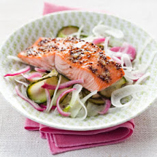 Maple-Glazed Salmon with Pickled Cucumber