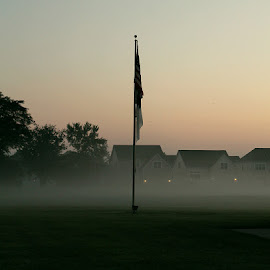 Morning Drives by Lauren Young - City,  Street & Park  Neighborhoods ( columbus, ohio, flag_pole, fog, drives, morning )