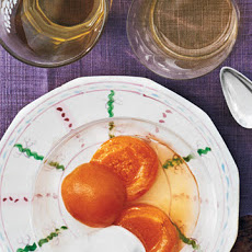 Chilled Poached Apricots with Whipped Cream