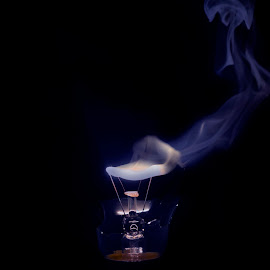 Free as Smoke by Anshuman Mishra - Abstract Fine Art ( fumes, bulb, high speed, broken bulb, smoke, fire )
