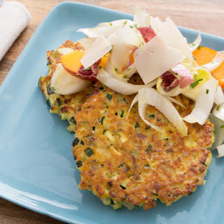 Zucchini Fritters with Endive, Nectarine & Parmesan Salad
