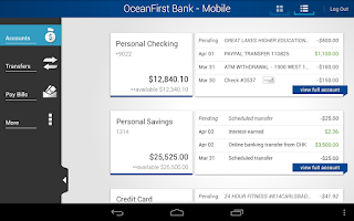 Screenshot of OceanFirst Bank - Mobile