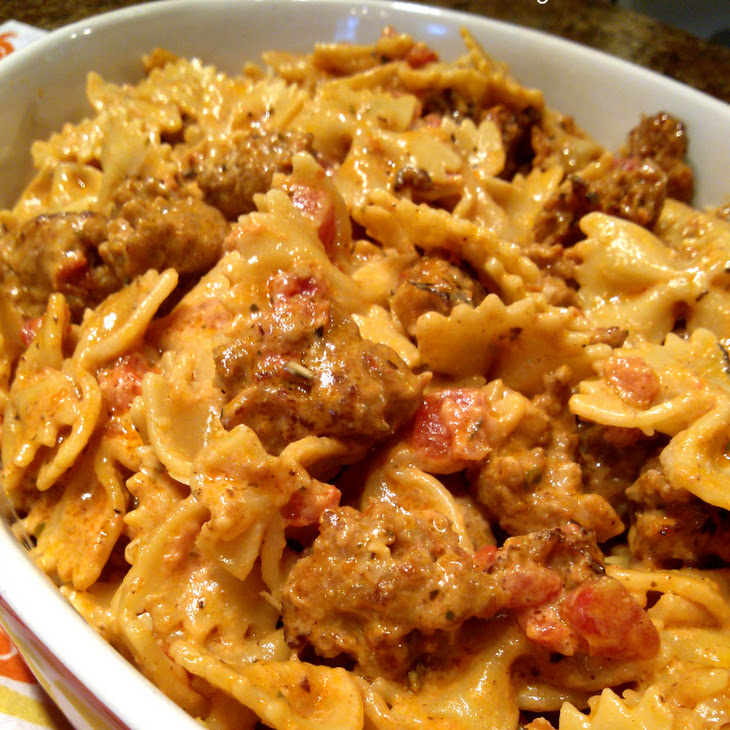 Italian Sausage and Pasta with Tomato Cream Sauce Recipe | Yummly