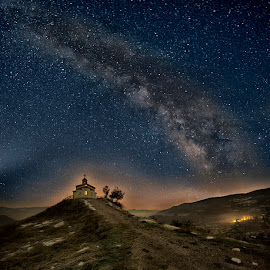 The Temple by Minko Minkov - Landscapes Starscapes ( temple, night photography, night shot, nightscapes, milky way )