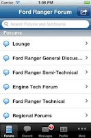 Screenshot of Ford Ranger Forum App