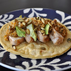 Grilled Chicken Tacos with Pumpkin Seed Sauce