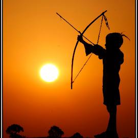 Bow N Arrow by Ishit Bawaniya - Babies & Children Children Candids ( abstract, nature, silhouette, art, asia, candid, sunrise, people, portrait, mandav )
