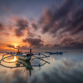 The Jukung Supremacy by Chandra Chung - Transportation Boats ( beach, sunrise, morning, boat, sun,  )