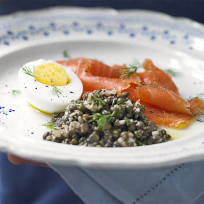 Smoked Salmon With Lentil Salad