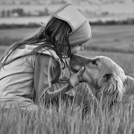 friends by Katka Kozáková - Babies & Children Children Candids ( love, friends, girl, b & w, dog )