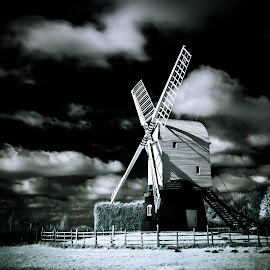 wrawby windmill by June Gathercole - Landscapes Cloud Formations