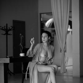 Coffee ....... with heart  by Kalin Kostov - Nudes & Boudoir Boudoir ( coffe, nude, boudoir, woman, women, portrait )