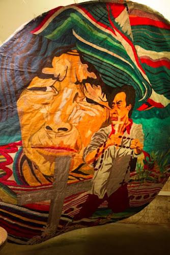<p> A close up of one of the three kites from the Festival de Barriletes Gigantes de Skumpango Sacatepeequez (Guatemala)</p>