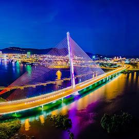 Sails Bridge by TBone Lê - Buildings & Architecture Bridges & Suspended Structures ( skyline, vietnam, bridge, landscape, nightscape )