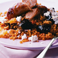 Sausages With Aubergine Bulgar Pilaf