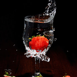 Strawberry Splash #3 by Sarath Sankar - Food & Drink Fruits & Vegetables