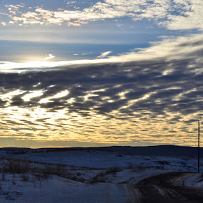 by Selah Madland - Landscapes Sunsets & Sunrises ( clouds, winter, sunset, road, sun )