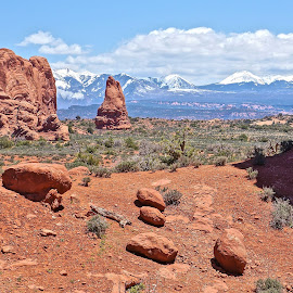 Desert Mountain View by Jim Czech - Landscapes Caves & Formations ( mountains, cliffs, desert, arches national park, utah, rock formation, rocks )